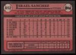 1989 Topps #452  Israel Sanchez  Back Thumbnail
