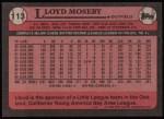 1989 Topps #113  Lloyd Moseby  Back Thumbnail