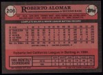 1989 Topps #206  Roberto Alomar  Back Thumbnail