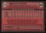 1989 Topps #423  Brian Fisher  Back Thumbnail
