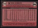 1989 Topps #340  Kirk Gibson  Back Thumbnail