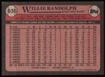 1989 Topps #635  Willie Randolph  Back Thumbnail