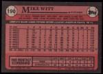 1989 Topps #190  Mike Witt  Back Thumbnail