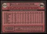 1989 Topps #454  Paul Assenmacher  Back Thumbnail