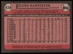 1989 Topps #638  Floyd Bannister  Back Thumbnail