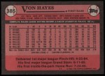 1989 Topps #385  Von Hayes  Back Thumbnail