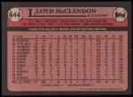 1989 Topps #644  Lloyd McClendon  Back Thumbnail