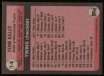 1989 Topps #14  Tom Kelly  Back Thumbnail
