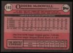 1989 Topps #183  Oddibe McDowell  Back Thumbnail