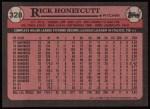 1989 Topps #328  Rick Honeycutt  Back Thumbnail