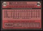 1989 Topps #252  Billy Hatcher  Back Thumbnail
