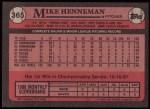 1989 Topps #365  Mike Henneman  Back Thumbnail