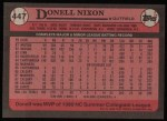 1989 Topps #447  Donell Nixon  Back Thumbnail