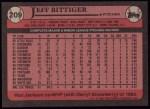 1989 Topps #209  Jeff Bittiger  Back Thumbnail