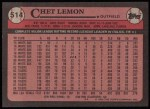 1989 Topps #514  Chet Lemon  Back Thumbnail