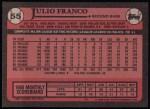 1989 Topps #55  Julio Franco  Back Thumbnail