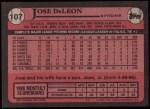 1989 Topps #107  Jose DeLeon  Back Thumbnail
