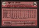 1989 Topps #123  Spike Owen  Back Thumbnail