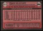 1989 Topps #611  Don Slaught  Back Thumbnail