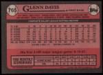 1989 Topps #765  Glenn Davis  Back Thumbnail