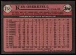 1989 Topps #751  Ken Oberkfell  Back Thumbnail