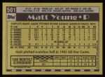 1990 Topps #501  Matt Young  Back Thumbnail
