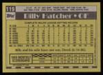 1990 Topps #119  Billy Hatcher  Back Thumbnail