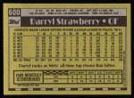 1990 Topps #600  Darryl Strawberry  Back Thumbnail