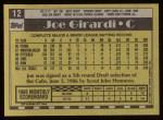 1990 Topps #12  Joe Girardi  Back Thumbnail