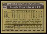 1990 Topps #267  Mark Davidson  Back Thumbnail