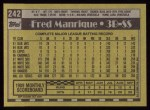 1990 Topps #242  Fred Manrique  Back Thumbnail