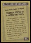1990 Topps #6   -  Vince Coleman Record Breaker Back Thumbnail