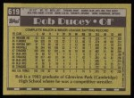 1990 Topps #619  Rob Ducey  Back Thumbnail
