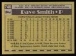 1990 Topps #746  Dave Smith  Back Thumbnail