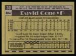 1990 Topps #30  David Cone  Back Thumbnail