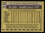 1990 Topps #598  Brady Anderson  Back Thumbnail