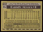 1990 Topps #105  Randy Myers  Back Thumbnail