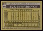 1990 Topps #592  R.J. Reynolds  Back Thumbnail