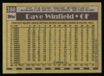 1990 Topps #380  Dave Winfield  Back Thumbnail