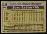 1990 Topps #472  Jose Uribe  Back Thumbnail