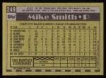 1990 Topps #249  Mike (Texas) Smith  Back Thumbnail