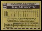 1990 Topps #782  Jose Alvarez  Back Thumbnail