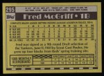 1990 Topps #295  Fred McGriff  Back Thumbnail