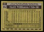 1990 Topps #41  Matt Williams  Back Thumbnail