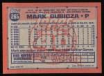 1991 Topps #265  Mark Gubicza  Back Thumbnail