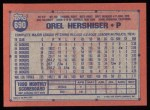 1991 Topps #690  Orel Hershiser  Back Thumbnail