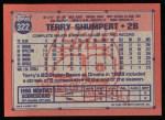1991 Topps #322  Terry Shumpert  Back Thumbnail