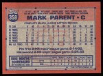 1991 Topps #358  Mark Parent  Back Thumbnail