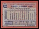 1991 Topps #216  Greg Gagne  Back Thumbnail