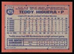 1991 Topps #475  Ted Higuera  Back Thumbnail
